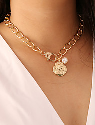 cheap -Women's Pendant Necklace Necklace Classic Lucky Simple Classic Trendy Korean Imitation Pearl Chrome Gold 40 cm Necklace Jewelry 1pc For Gift Daily School Holiday Festival
