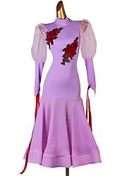 cheap -Ballroom Dance Dresses Women's Training Milk Fiber Embroidery / Appliques Long Sleeve Natural Dress