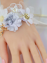 "cheap -Wedding Flowers Wrist Corsages Wedding Party / Birthday Party Organza / Metal / Fabrics 4.72""(Approx.12cm)"