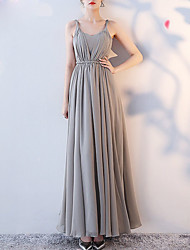 cheap -A-Line Spaghetti Strap Ankle Length Chiffon Bridesmaid Dress with Pleats / Open Back
