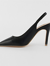 cheap -Women's Heels Stiletto Heel Pointed Toe Faux Leather Minimalism Walking Shoes Spring &  Fall / Spring & Summer Black / Light Yellow / Light Brown