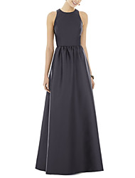cheap -A-Line Jewel Neck Floor Length Satin Dress with Pleats by LAN TING Express