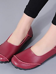 cheap -Women's Flats Flat Heel Round Toe PU Winter Black / Wine / Light Brown