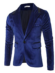 cheap -Men's Blazer, Solid Colored Notch Lapel Polyester Black / Blue