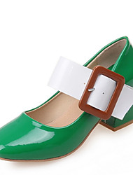 cheap -Women's Heels Chunky Heel Round Toe Buckle PU Spring &  Fall Brown / Green / Burgundy / Color Block