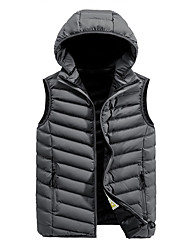 cheap -Men's Daily / Beach Fall / Winter Regular Vest, Solid Colored Hooded Sleeveless Polyester Black / Blue / Gray