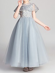 cheap -Ball Gown Ankle Length Pageant Flower Girl Dresses - Polyester Short Sleeve Jewel Neck with Appliques