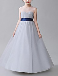cheap -A-Line Jewel Neck Floor Length Poly&Cotton Blend Junior Bridesmaid Dress with Bow(s)