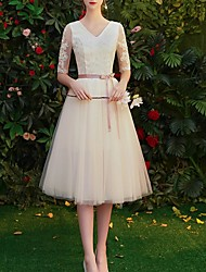 cheap -A-Line V Neck Knee Length Polyester Bridesmaid Dress with Appliques / Sash / Ribbon