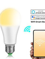 cheap -Dimmable 15W E27 B22 WiFi Smart Light Bulb LED Lamp App Operate Alexa Google Assistant Voice Control Wake up Smart Lamp Night Light