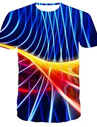お買い得  -男性用 3D プリント スリム Tシャツ 日常 ラウンドネック ブルー / 半袖