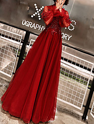 cheap -A-Line Elegant Prom Formal Evening Dress High Neck Long Sleeve Floor Length Polyester with Beading Appliques 2020