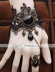 cheap -Women's Vintage Bracelet Ring Bracelet / Slave bracelet Pear Cut Precious Pear Vintage Acrylic Bracelet Jewelry Black For Party Street Holiday
