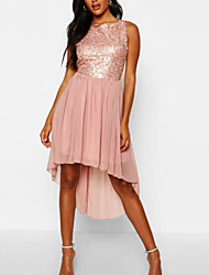 cheap -A-Line Jewel Neck Asymmetrical Chiffon / Sequined Open Back Cocktail Party / Holiday Dress with Sequin / Bow(s) 2020