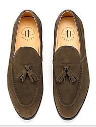 baratos -Homens Sapatos Confortáveis Couro Ecológico Inverno Mocassins e Slip-Ons Preto / Verde Tropa / Amarelo
