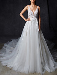 cheap -A-Line Wedding Dresses V Neck Court Train Lace Tulle Regular Straps Romantic Sexy Illusion Detail Backless with Lace Insert 2021