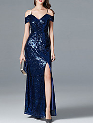 cheap -Sheath / Column Spaghetti Strap Floor Length Sequined Dress with Sequin / Split Front by LAN TING Express