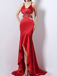 cheap -Sheath / Column Spaghetti Strap Sweep / Brush Train Satin Dress with Beading / Sequin / Split Front by LAN TING Express
