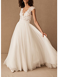 cheap -A-Line V Neck Court Train Lace / Tulle Cap Sleeve Wedding Dresses with Draping 2020