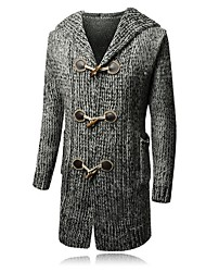 cheap -Men's Solid Colored Long Sleeve Cardigan Sweater Jumper, Hooded Wine / Gray / Khaki US34 / UK34 / EU42 / US36 / UK36 / EU44 / US38 / UK38 / EU46