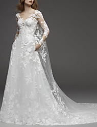cheap -A-Line V Neck Watteau Train Lace / Tulle Long Sleeve Illusion Sleeve Wedding Dresses with Appliques 2020