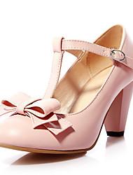 cheap -Women's Heels Chunky Heel PU Spring & Summer Black / Green / Pink
