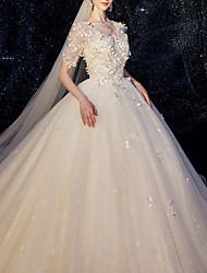 cheap -A-Line V Neck Chapel Train Lace Half Sleeve Wedding Dresses with Lace Insert / Appliques 2020