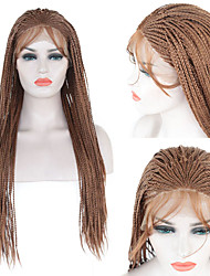 cheap -Synthetic Lace Front Wig Box Braids Braid Lace Front Wig Long Brown Synthetic Hair 1824 inch Women's Soft Adjustable Heat Resistant Brown