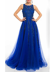 cheap -A-Line Elegant Prom Dress Jewel Neck Sleeveless Floor Length Tulle with Beading Sequin Appliques 2021