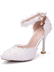 cheap -Women's Wedding Shoes Stiletto Heel Pointed Toe Pearl / Satin Flower / Buckle PU Vintage / Minimalism Spring &  Fall / Fall & Winter White / Party & Evening