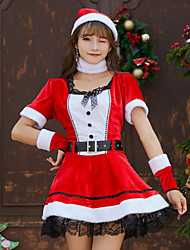 cheap -Mrs.Claus Dress Women's Adults' Costume Party Christmas Christmas Velvet Dress / Belt / Hat / Neckwear / Bracelets