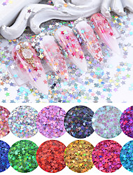 cheap -12 Colors Holographic Glitter Nail Sequins Star Colorful Tips Shiny Flakes Nail Art Decorations for Salon Home DIY