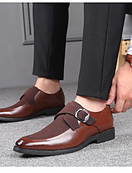 cheap -Men's Formal Shoes Suede / PU Spring & Summer / Fall & Winter Business / Casual Loafers & Slip-Ons Walking Shoes Breathable Color Block Black / Brown / Party & Evening