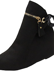 cheap -Women's Boots Wedge Heel Round Toe Suede Booties / Ankle Boots Winter Black / Green / Red