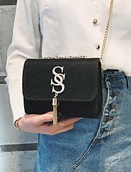 cheap -Women's Chain / Tassel Satin Crossbody Bag Solid Color Black / Blue / Red