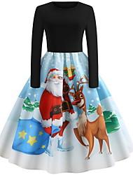 cheap -Women's Swing Dress - Animal Black S M L XL