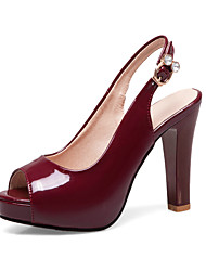 cheap -Women's Heels Chunky Heel Peep Toe PU British / Minimalism Spring & Summer Black / Burgundy / Party & Evening