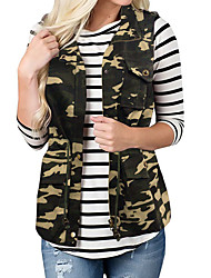 cheap -Women's Daily Fall & Winter Regular Vest, Camo / Camouflage Stand Sleeveless Polyester Army Green / Brown / Gray