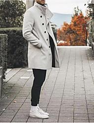 abordables -Homme Quotidien Basique Printemps & Automne Court Manteau, Couleur Pleine Mao Manches Longues Autres Noir / Gris Clair / Gris Foncé