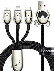 cheap -Baseus Three Mouse 3-in-1 Cable USB For MLT 3.5A 1.2m Black