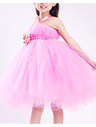 cheap -A-Line Knee Length Flower Girl Dress - Tulle Sleeveless Halter Neck with Appliques / Pleats