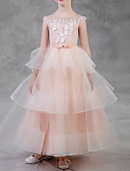 cheap -Ball Gown Ankle Length Pageant Flower Girl Dresses - Polyester Sleeveless Jewel Neck with Cascading Ruffles