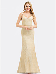 cheap -Mermaid / Trumpet Spaghetti Strap Floor Length Polyester / Spandex Bridesmaid Dress with