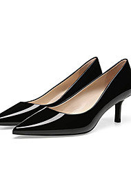 cheap -Women's Heels Kitten Heel Pointed Toe Patent Leather Minimalism Walking Shoes Spring &  Fall / Spring & Summer Black / Nude / Red