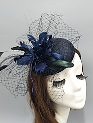 cheap -Feather / Net Fascinators / Hats / Headwear with Feather / Lace / Cap 1 Piece Wedding / Special Occasion Headpiece