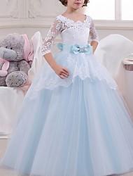 cheap -Ball Gown Floor Length Pageant Flower Girl Dresses - Tulle Half Sleeve Jewel Neck with Lace / Bow(s)