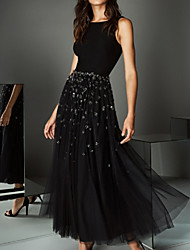 cheap -Ball Gown Jewel Neck Ankle Length Tulle / Stretch Satin Sparkle / Black Prom / Wedding Guest Dress with Beading / Crystals 2020