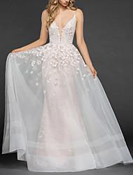 abordables -Trompette / Sirène Col en V Traîne Brosse Tulle Bretelle Fine Robes de mariée sur mesure avec Billes / Broderie 2020