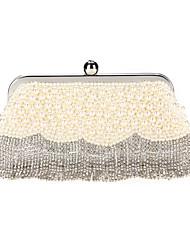 cheap -Women's Bags Polyester Alloy Evening Bag Pearls Crystals Tassel Pearl Crystal / Rhinestone Wedding Bags Wedding Party Beige