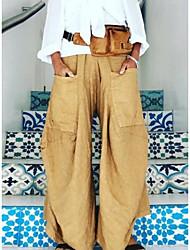 cheap -Women's Basic Loose Wide Leg Pants - Solid Colored Black Wine Blue S M L